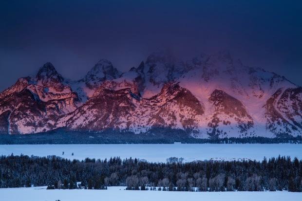 Winter sunrise on the tetons from Teton Overlook