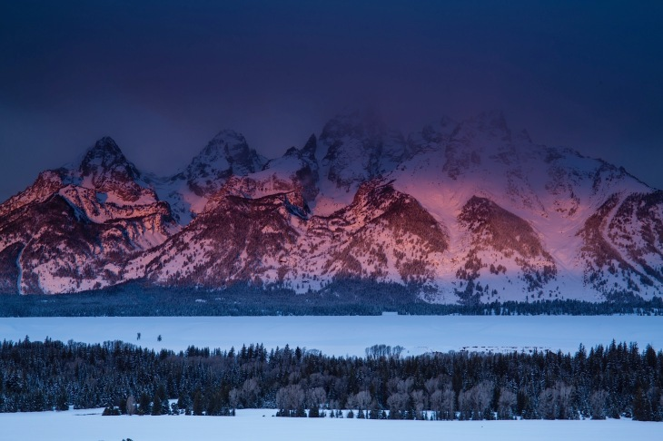 Winter sunrise on the tetons from Teton Overlook