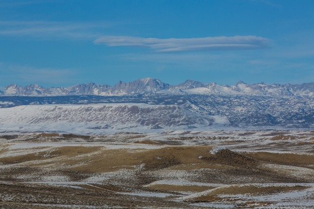 The Wind River Range from atop the Mesa oilfields near Pinedale, WY