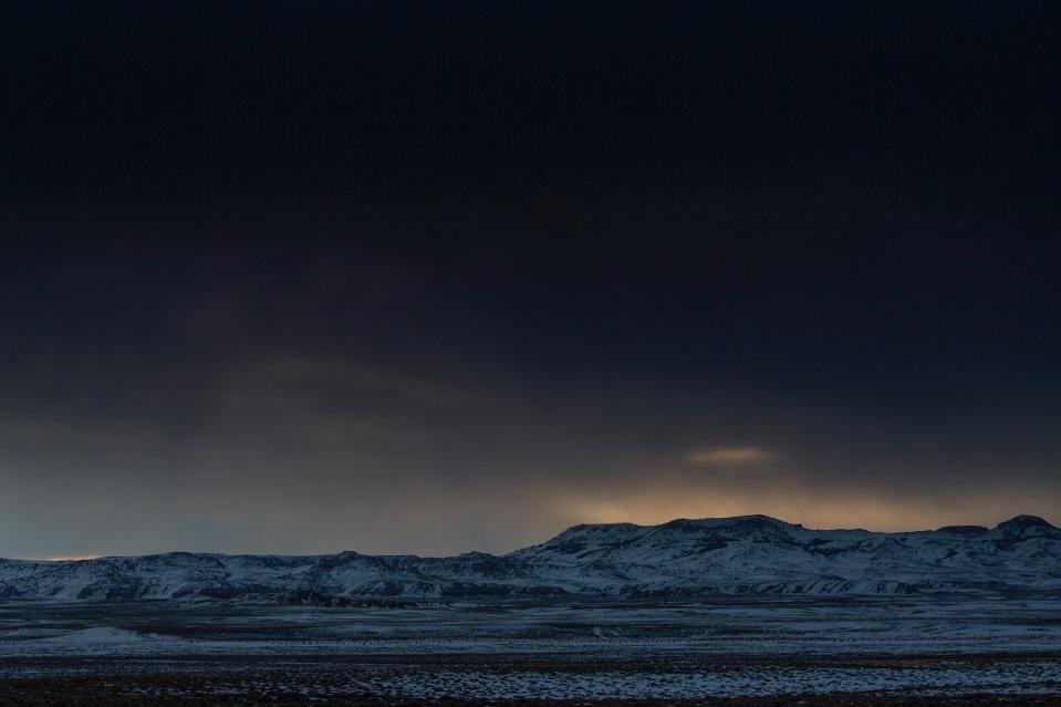 morning light in the frozen desert near South Pass, WY