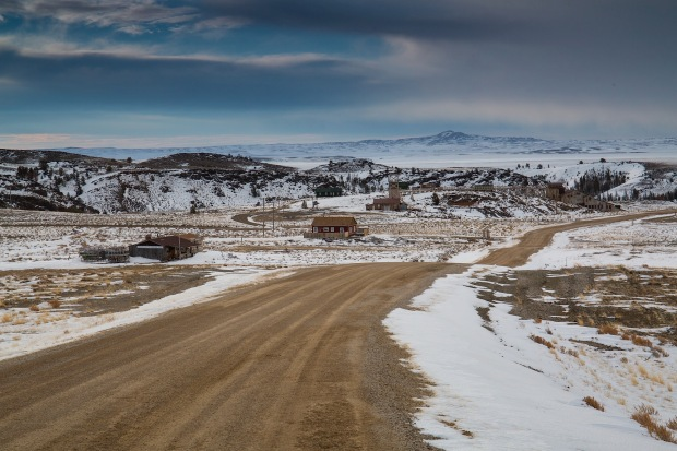 the dirt road to South Pass City ghost town, WY
