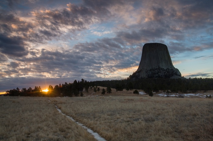 dramtic sunrise over Devils tower national monument, WY