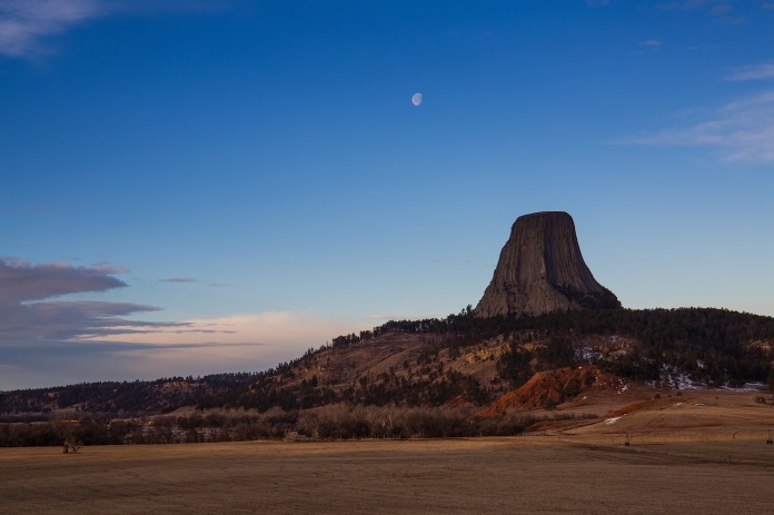moon over Devils tower national monument, WY