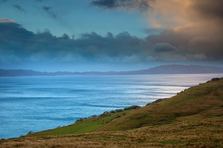 Dramatic light and clouds and the Isles of Rona and Raasay from the Isle of Skye