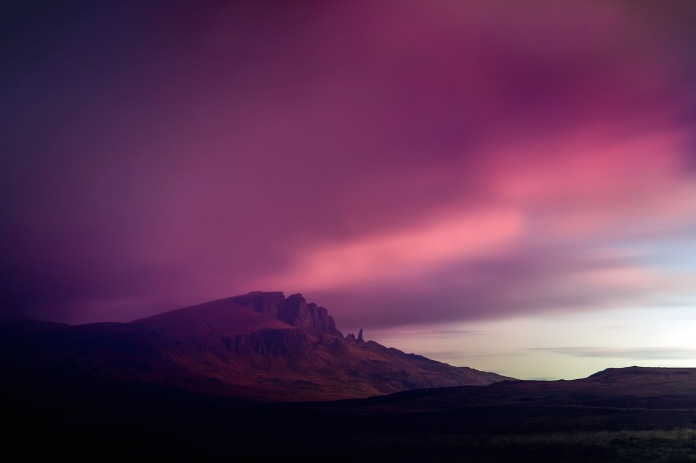 A long day time exposure of the Totternish range with clouds