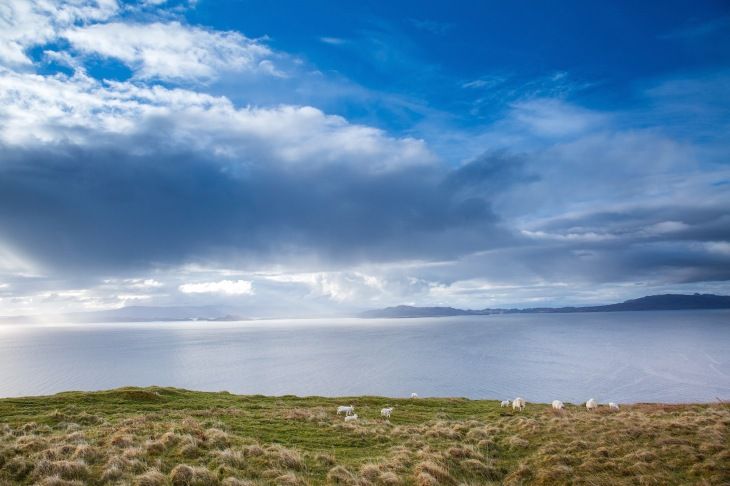 Dramatic light and clouds and the Isles of Rona and Raasay with Sheep grazing