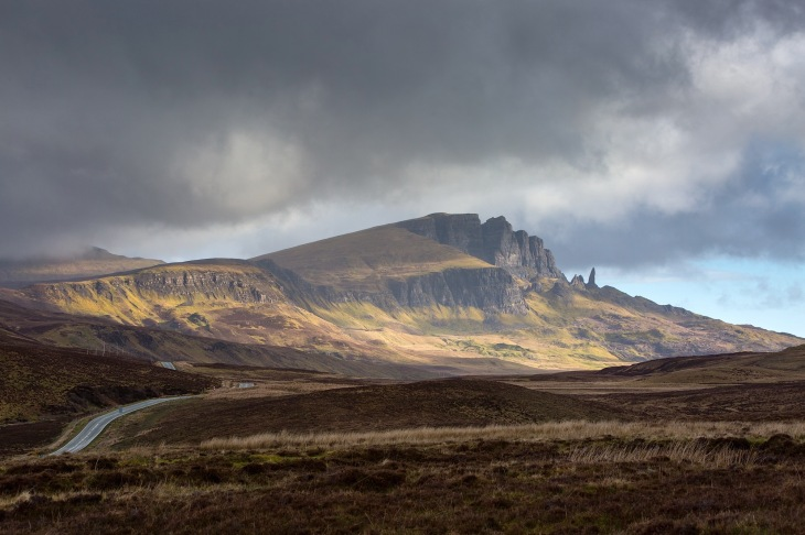 A855 leading up to Storr and the dramatic Totternish Range on the Isle of Skye