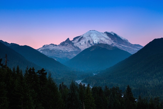 sunrise over mt. rainier