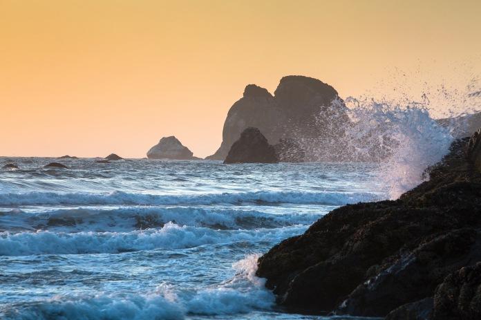 Dusk falls on the Pacific at Wilson Creek Beach