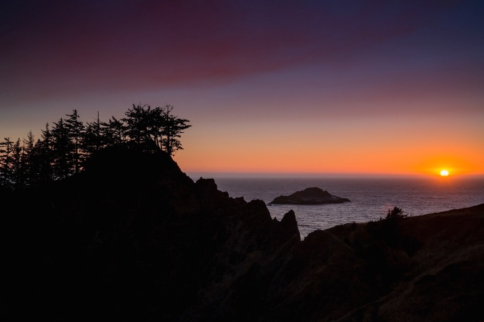 The sun sets on the Pacific with beautiful displays of color
