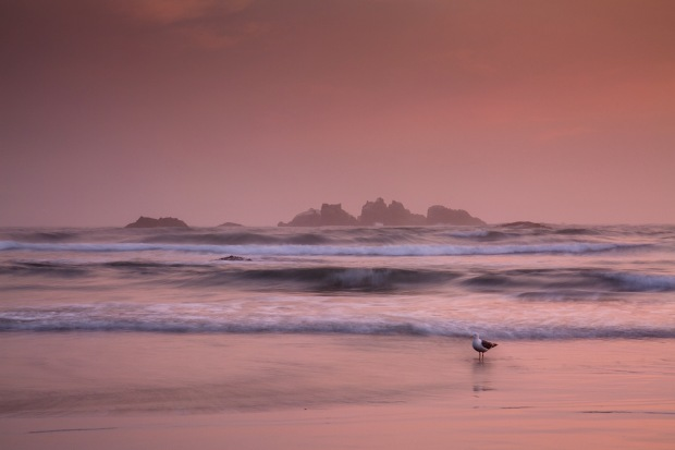 Dusk falls on Bandon Beach