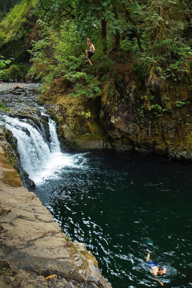 Cliff jumping at Punchbowl Falls