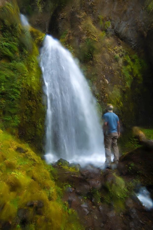 A man admiring Wahkeena Falls