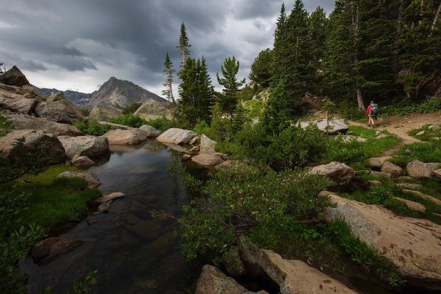 Ellen Slaton hiking Bridger Wilderness