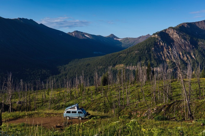 van life, early morning on Lulu Pass in Gallatin National Forest near Cooke City, MT