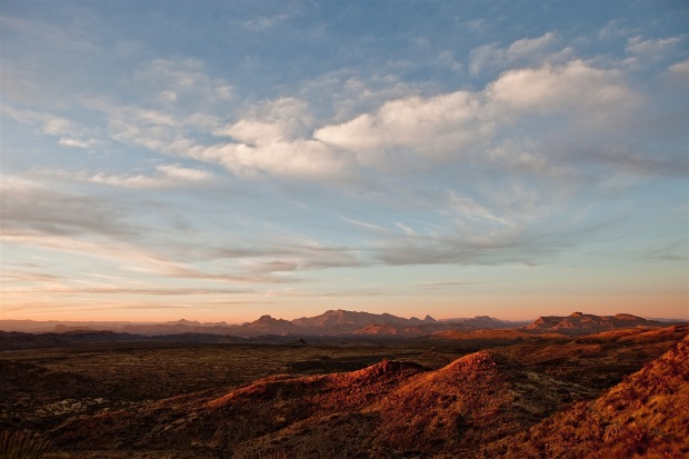 sunset over the chihuahuan desert, big bend national park, texas