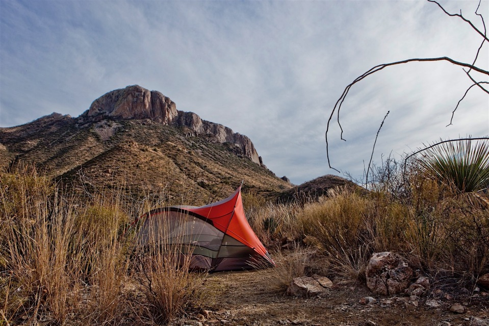 camping in the desert on the dodson trail, big bend national park, texas