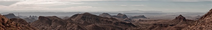 panoramic view of the chihuahuan desert from the dodson trail, big bend national park, texas