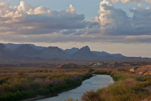 rio grande and the chisos mountains in big bend national park, texas