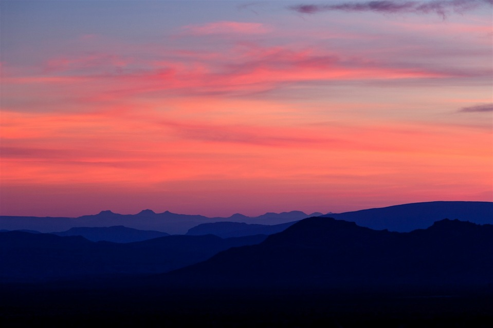colorful dawn over the chihuahuan desert in big bend national park, texas