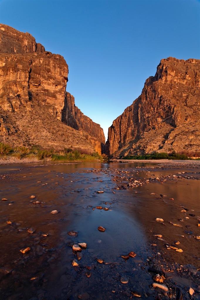 sunrise on santa elena canyon and rio grande in big bend national park, texas