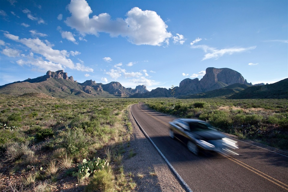 driving the chisos basin road in big bend national park, texas