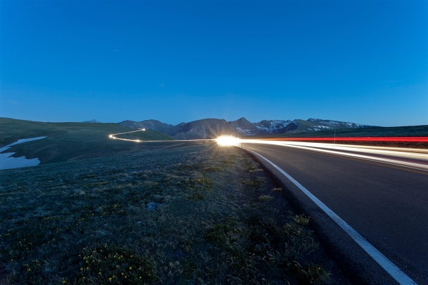 Driving Trail Ridge Road at night, Rocky Mountain National Park, CO