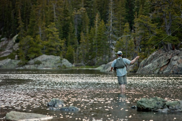 Fly fishing Dream Lake, Rocky Mountain National Park, CO