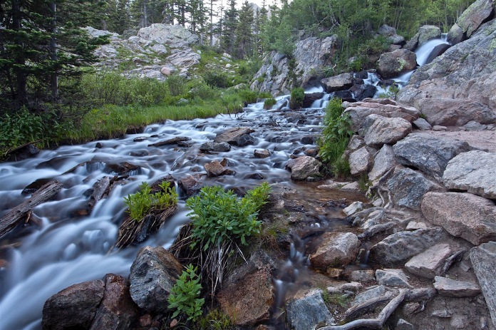 Dream Lake outlet waterfall in Rocky Mountain National Park, CO