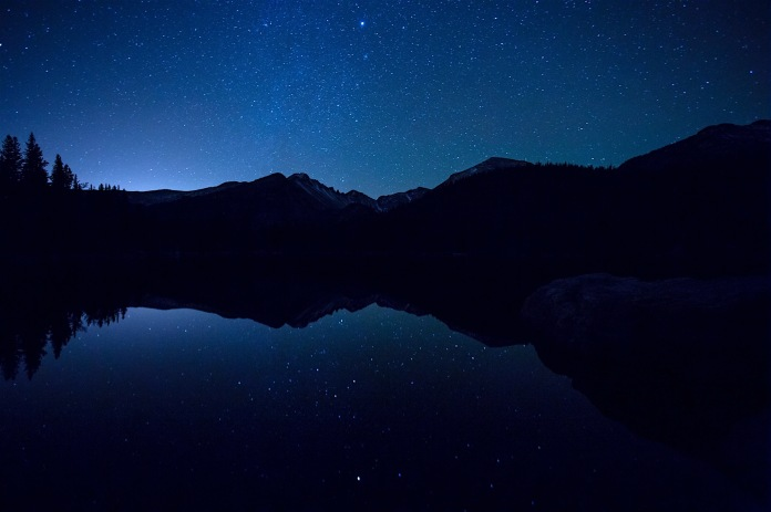 Stars over Long's Peak and Bear lake in Rocky Mountain National Park.