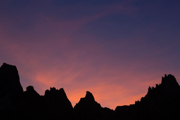 The peaks that make up the Cirque at sunset