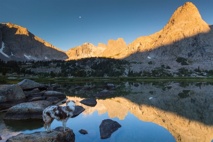 Reflections of Pingora Peak and the Cirque in Lonesome Lake at dawn
