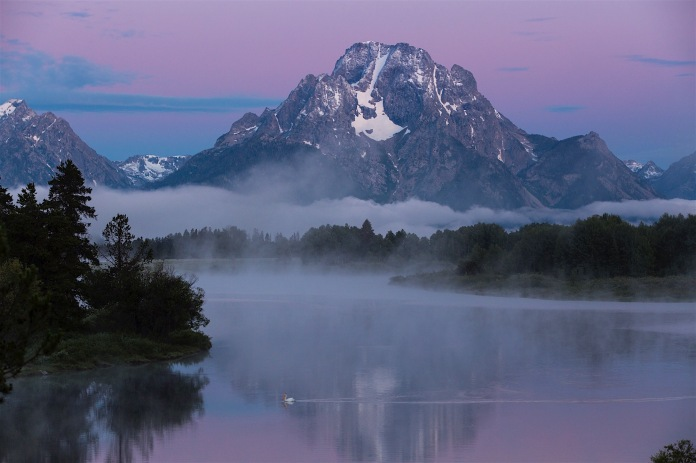 Sunrise over Mount Moran at Oxbow Bend