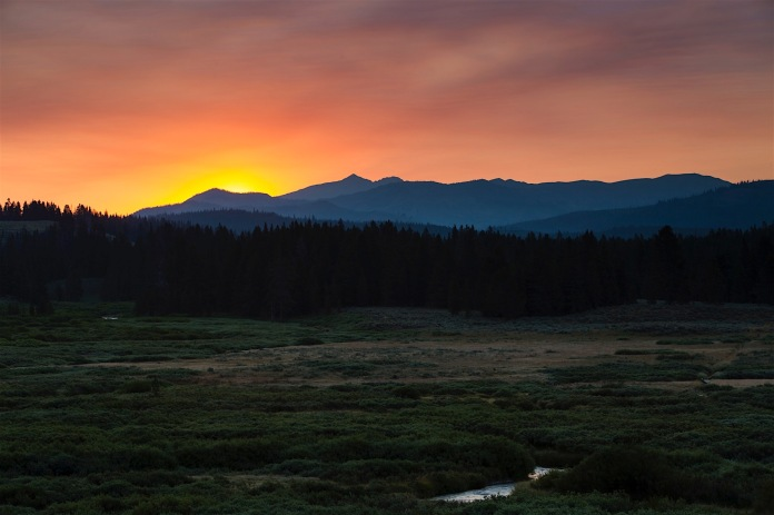 Sunrise over the Gallatin River and the far Northwest corner of Yellowstone